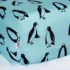 Swedish Linens Penguins Fitted crib sheet Minty blue