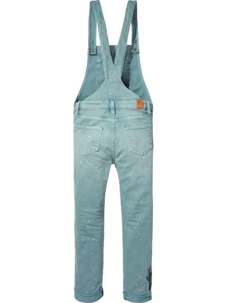 scotch r belle dungaree with paint splatters north sea