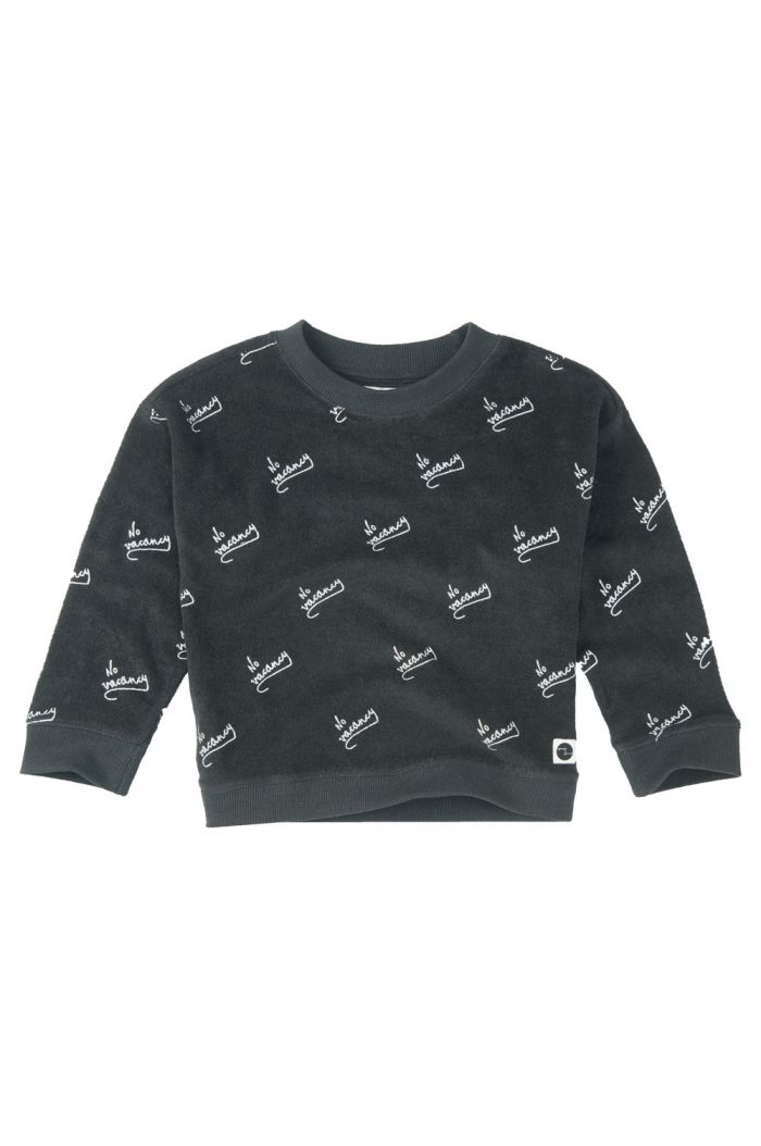 Sproet & Sprout Boxy sweater No Vacancy All-over Print asphalt