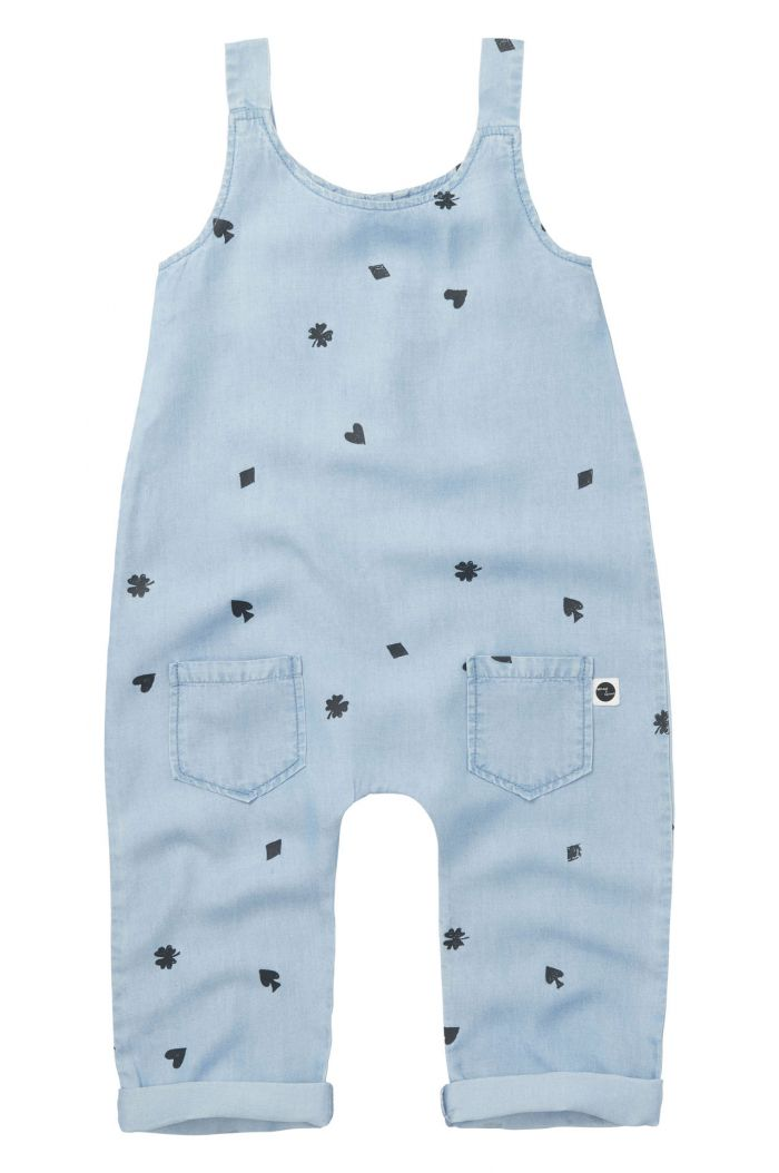 Sproet & Sprout Jumpsuit Playing Cards All-over Print vintage denim