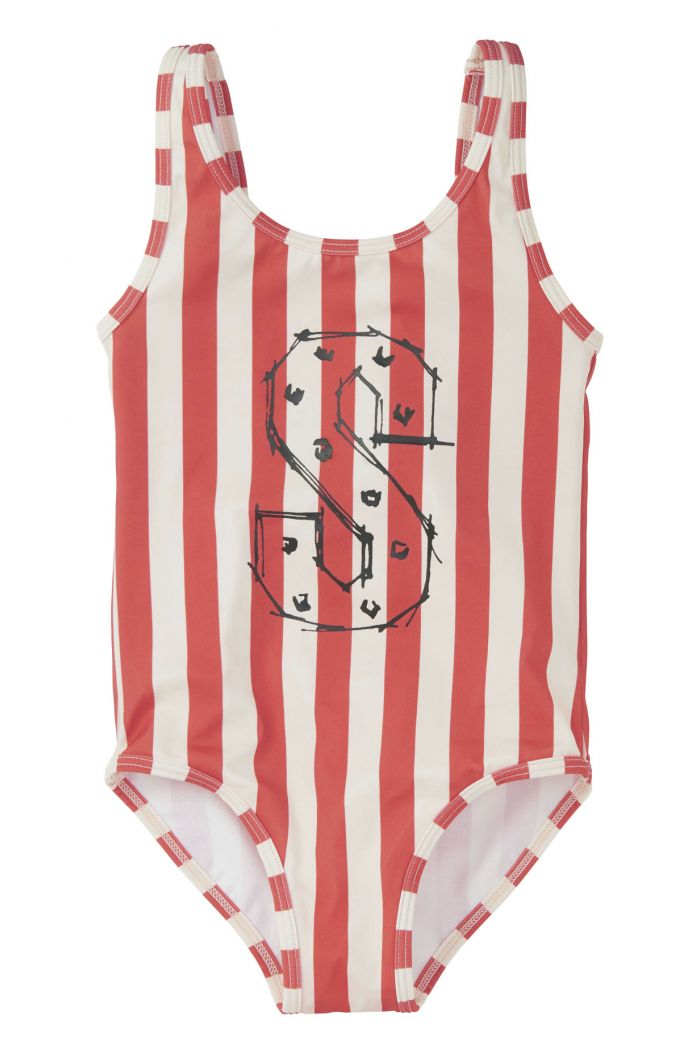 Sproet & Sprout Swimsuit Stripe summer white & red pepper