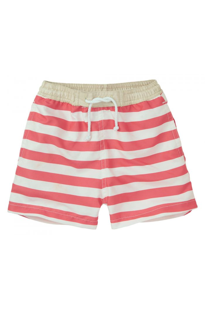 Sproet & Sprout Swim Short Stripe summer white & red pepper