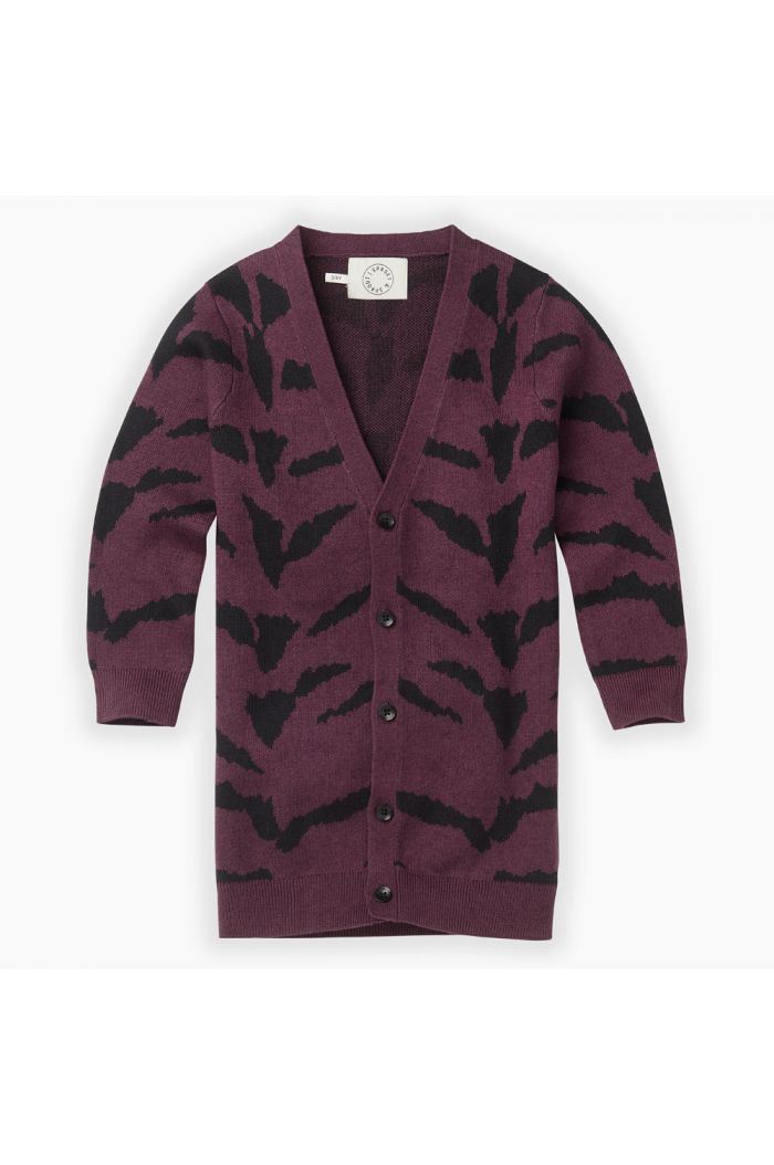 Sproet & Sprout Cardigan Tiger intarsia Burgundy