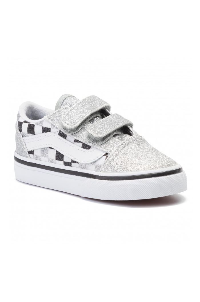 Vans Toddler Old Skool Velcro Glitter Checkered