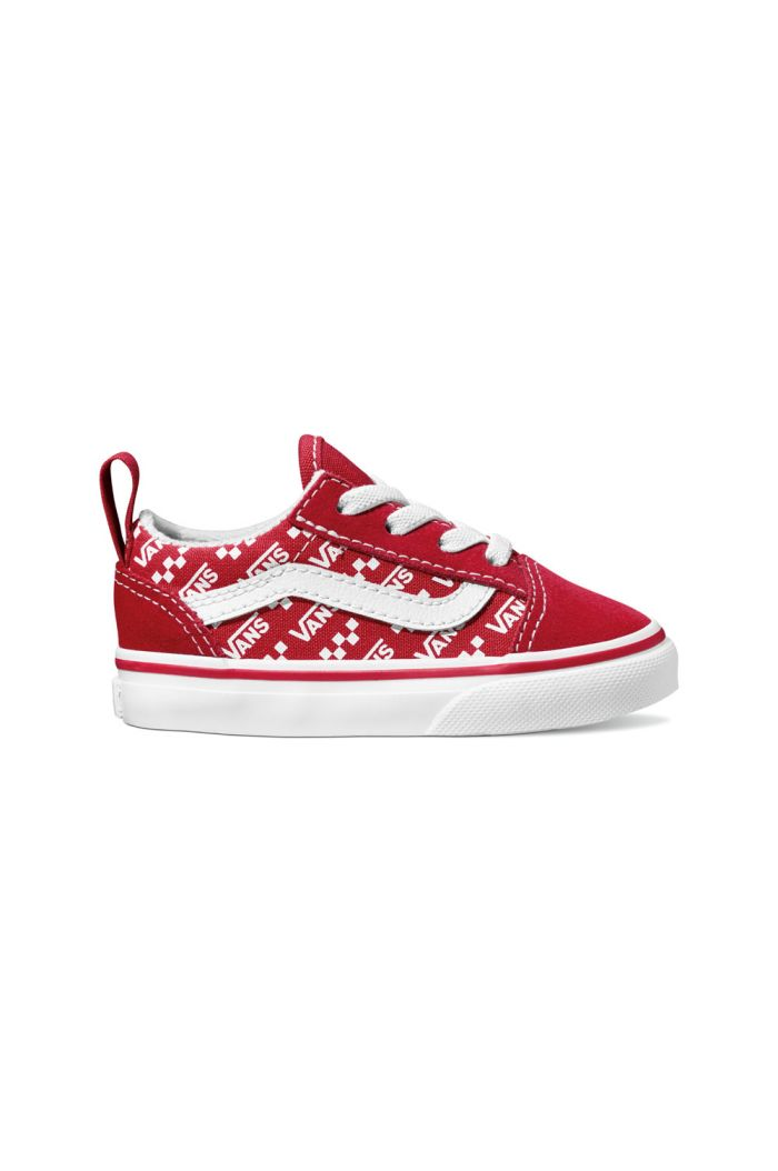 Vans Toddler Old Skool Elastic Lace (Logo Repeat) Red/True White