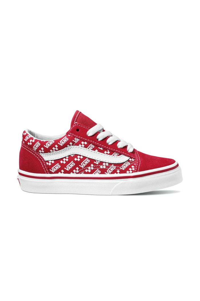Vans Youth Old Skool (Logo Repeat) Red/True White