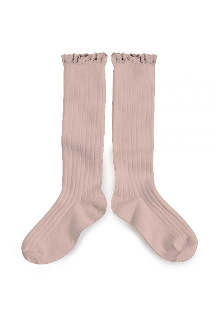 Collegien high socks with lace Vieux Rose