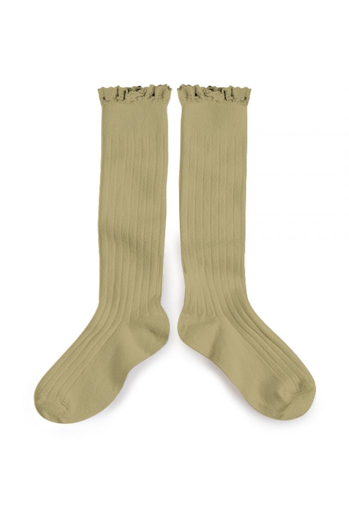 Collegien high socks with lace Petit taupe