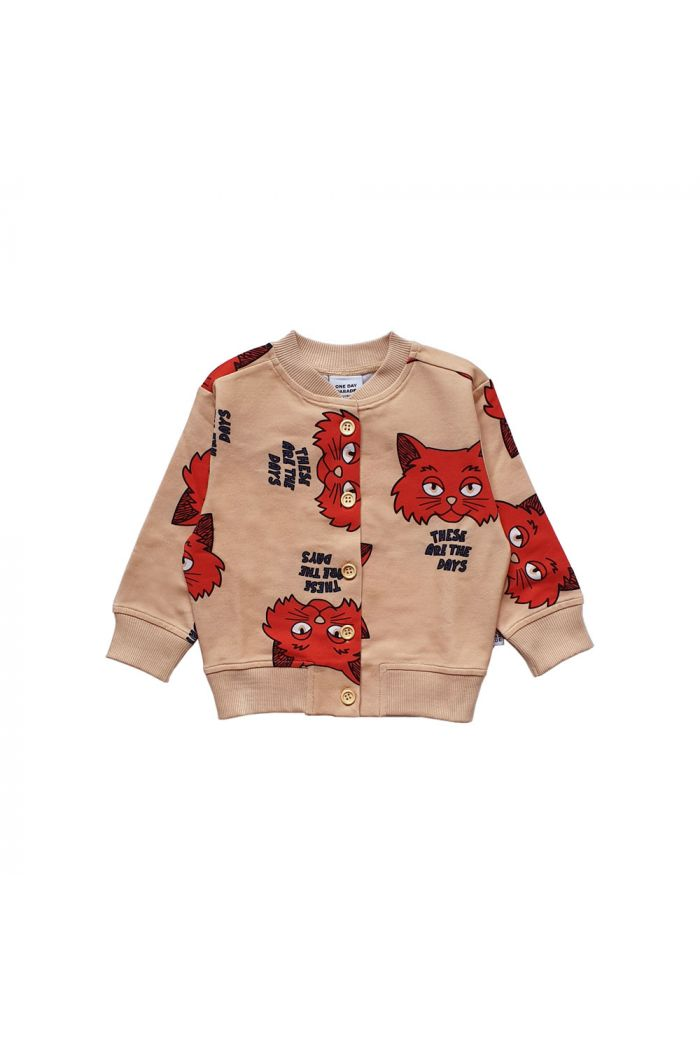 One Day Parade Cardigan Brown Cat All-over Print