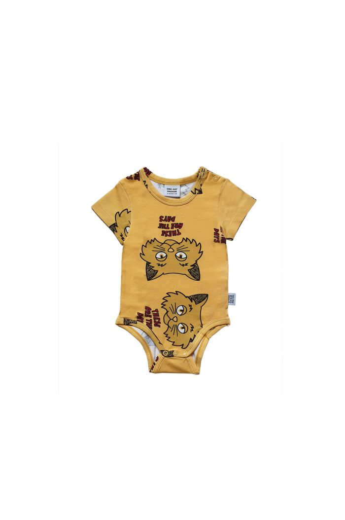One Day Parade Romper Yellow Cat All-over Print