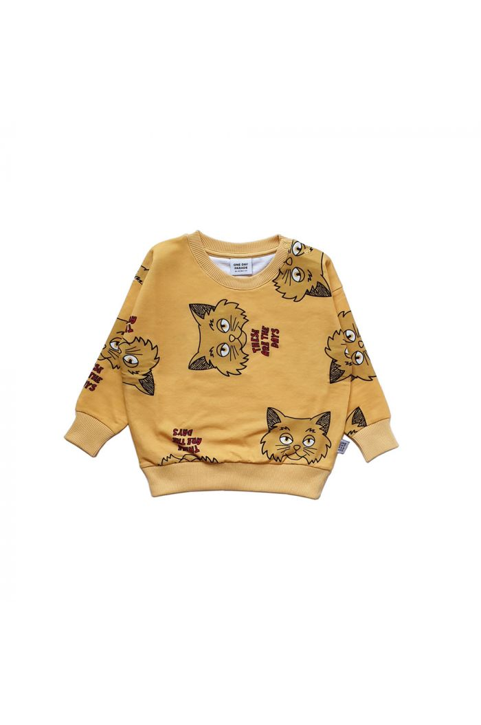 One Day Parade Sweater Yellow Cat All-over Print