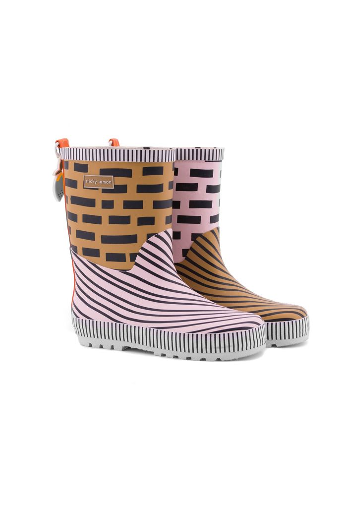 Sticky Lemon Rain boots panache gold + Mendl's pink + royal orange
