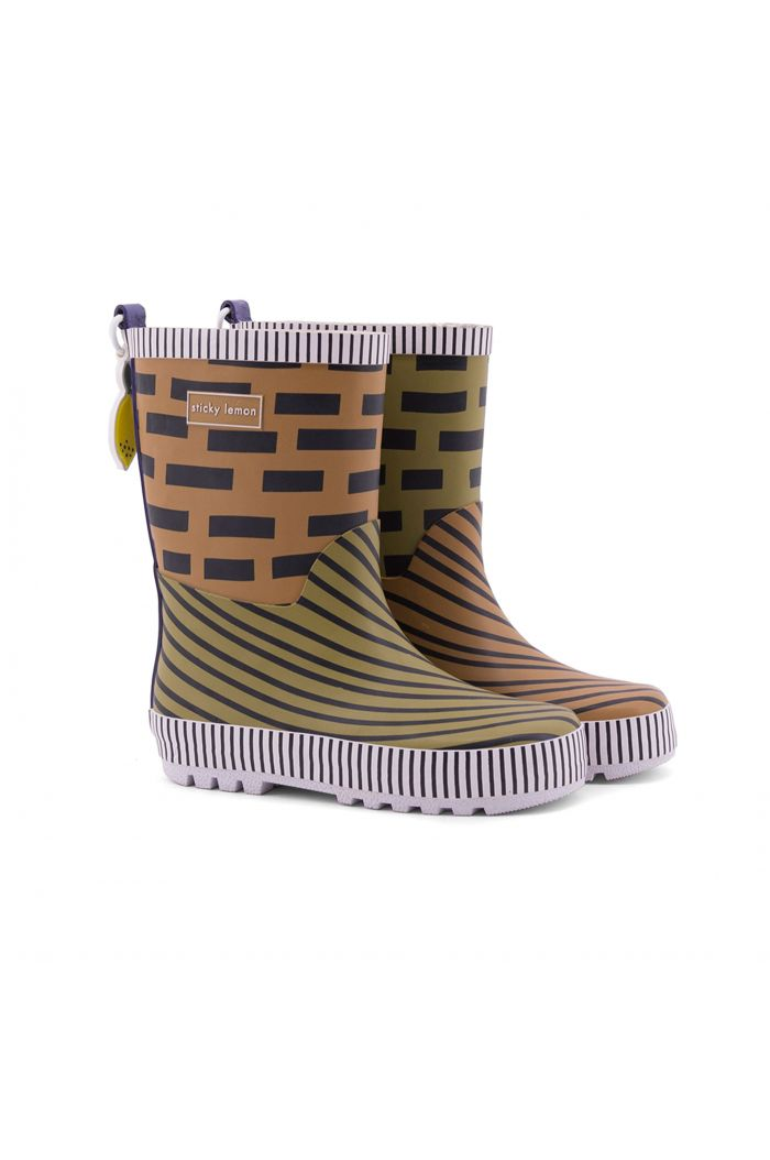 Sticky Lemon Rain boots sugar brown + madame olive + lobby purple