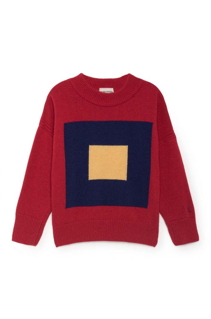 Bobo Choses Merino Squares Jumper Red Clay