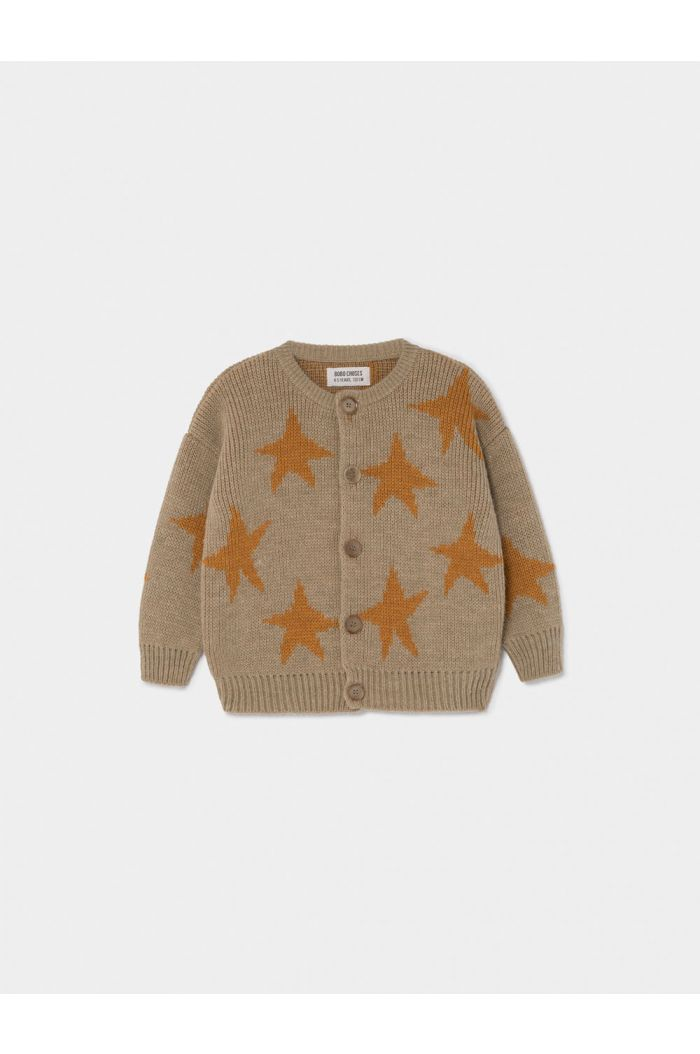 Bobo Choses Stars Jacquard Cardigan Pebble