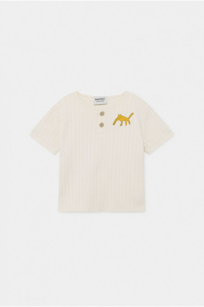Bobo Choses Leopard Buttoned T-Shirt Turtledove