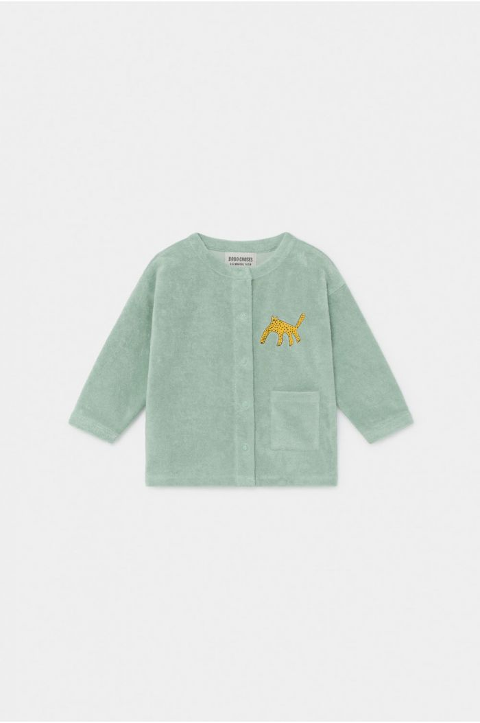 Bobo Choses Leopard Buttoned terry Sweatshirt Frosty Green