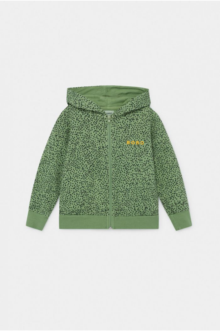 Bobo Choses All Over Leopard Zipped Hoodie Aspen Green