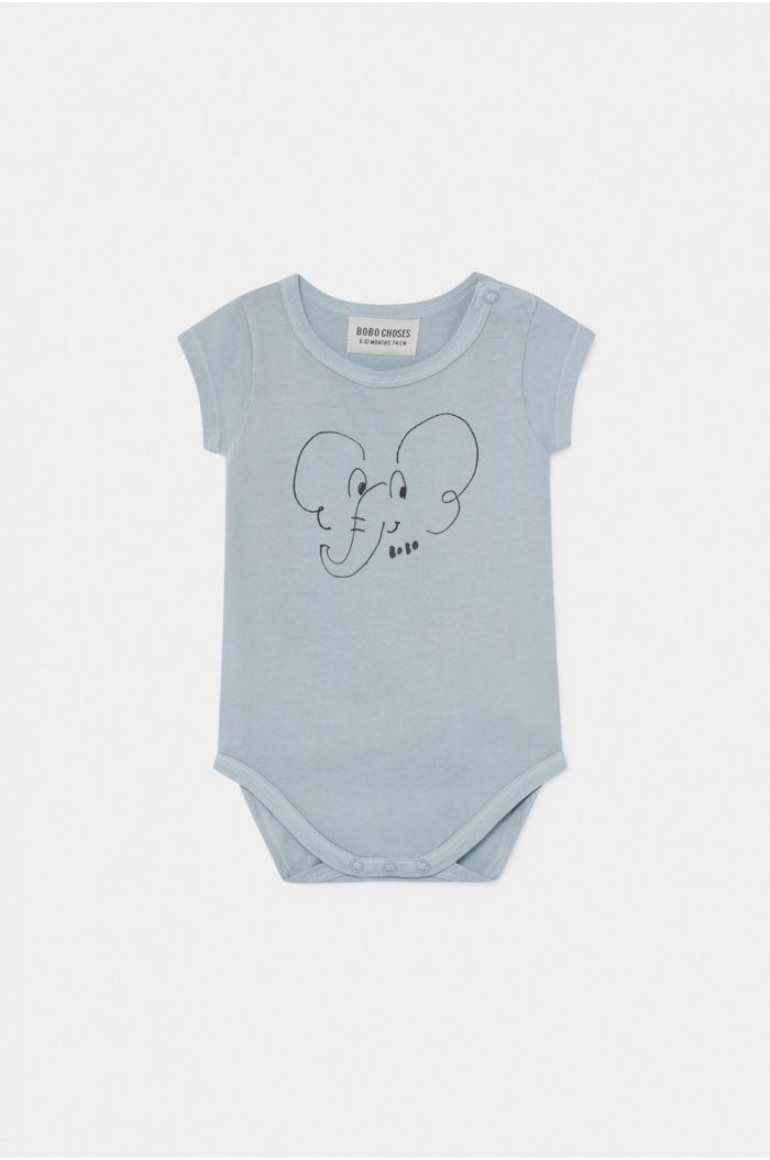 Bobo Choses Elephant Short Sleeve Body Blue Fog