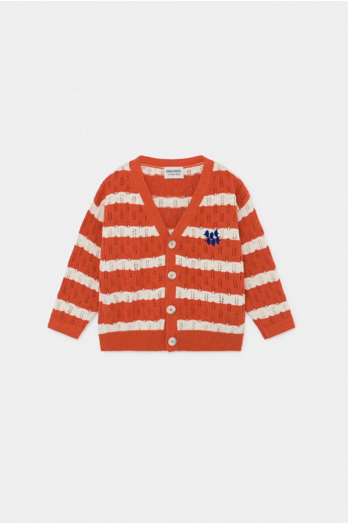 Bobo Choses Striped Knitted Cardigan Celosia Orange