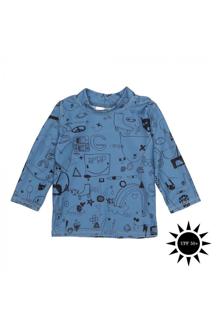 Soft Gallery Baby Astin Sun Shirt Copen blue All Over Print Quirky Big
