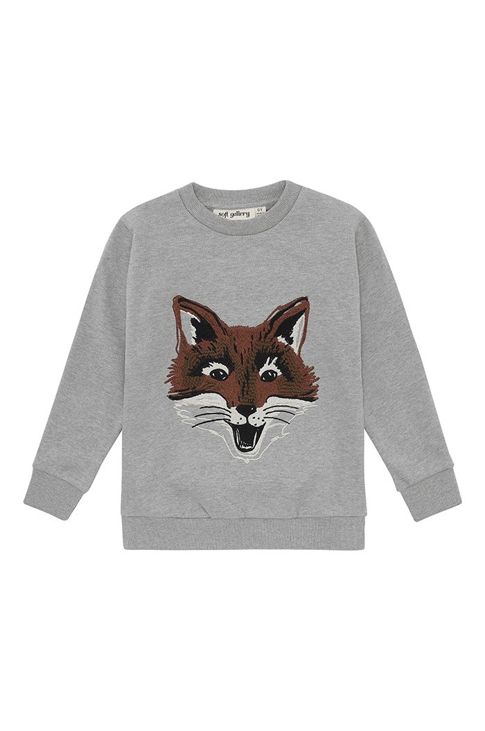 Soft Gallery Konrad Sweatshirt Grey Melange, Fuzzyfox Embroidery
