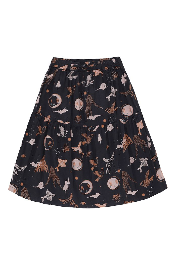 Soft Gallery Edel Skirt  Peat, All-over print Enchanted forest