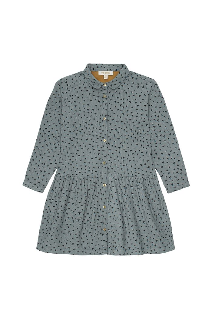 Soft Gallery Edeline Dress  Stormy Sea, All-over print Evergreen
