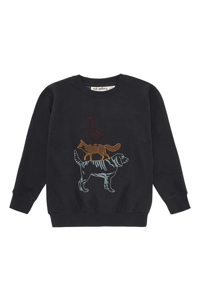 Soft Gallery Baptiste Sweatshirt  Peat, Critters Embroidery