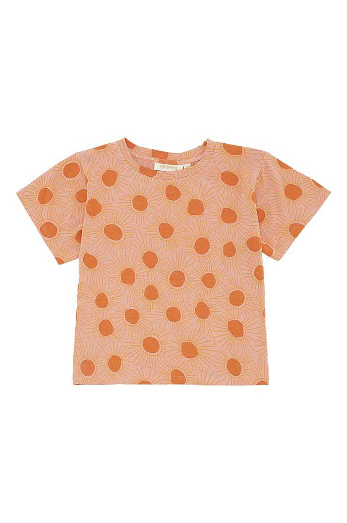 Soft Gallery Dominique T-shirt Peach Bloom, All-over print Sunshine