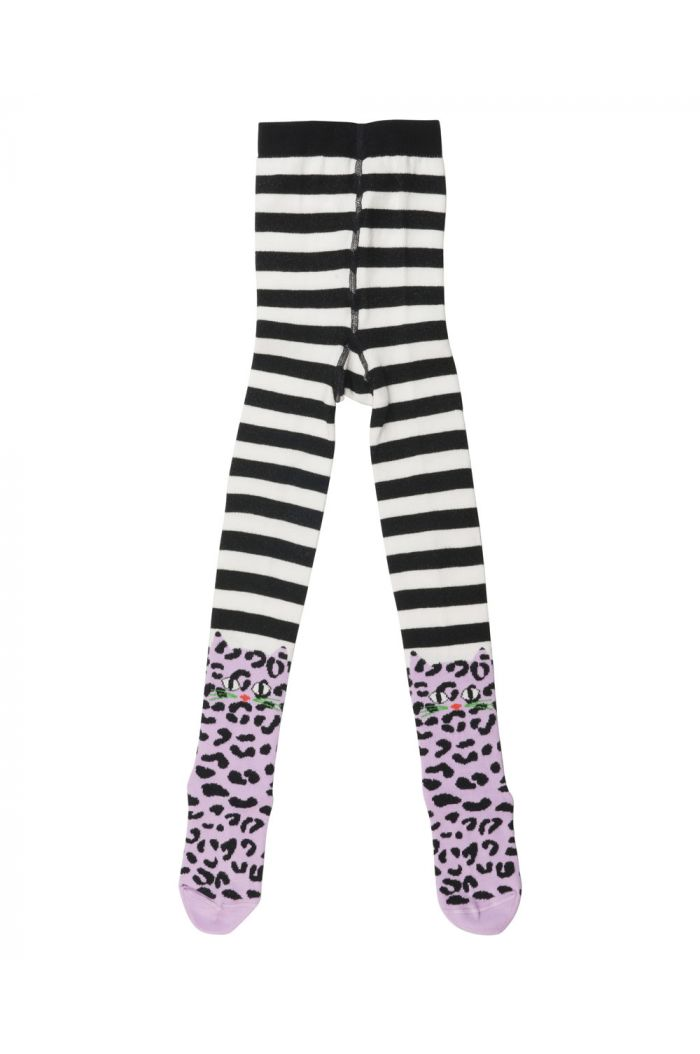 Wauw Capow Leo Cat tights with Feet Black and White stripe