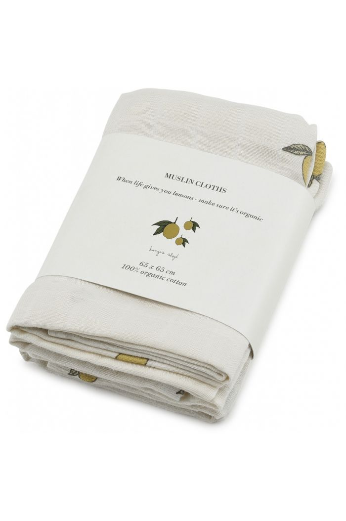 Konges Sløjd 3 Pack Muslin Cloths Lemon