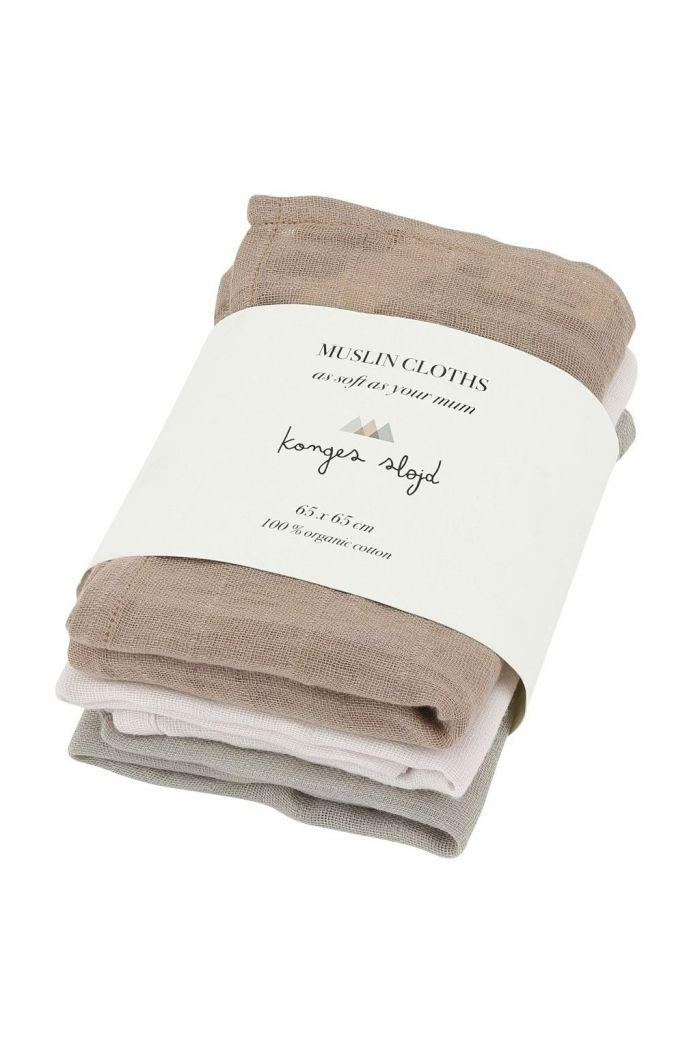 Konges Sløjd 3 pack Muslin Cloths Rose Dust