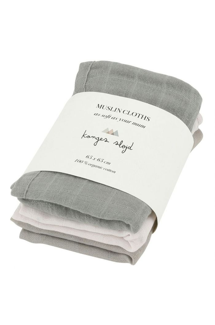 Konges Sløjd 3 Pack Muslin Clothes Lime Stone