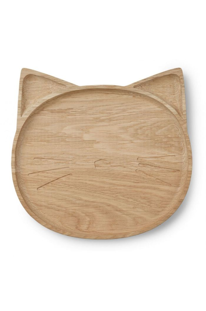 Liewood Conrad wood plate Cat natural