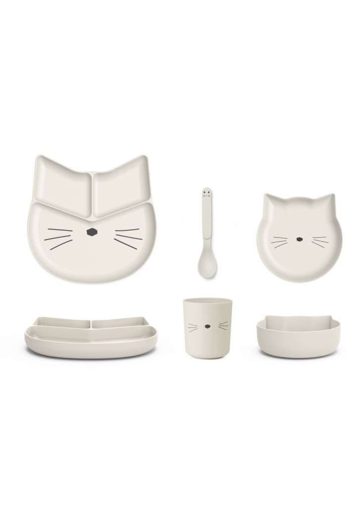 Liewood Jules junior bamboo set Cat creme de la creme