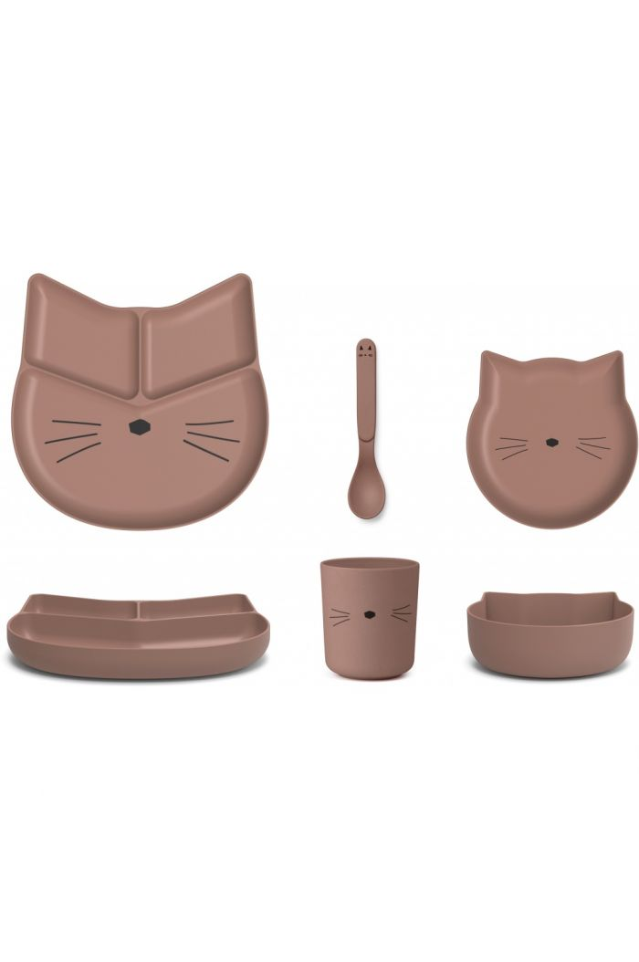 Liewood Jules junior bamboo set Cat dark rose