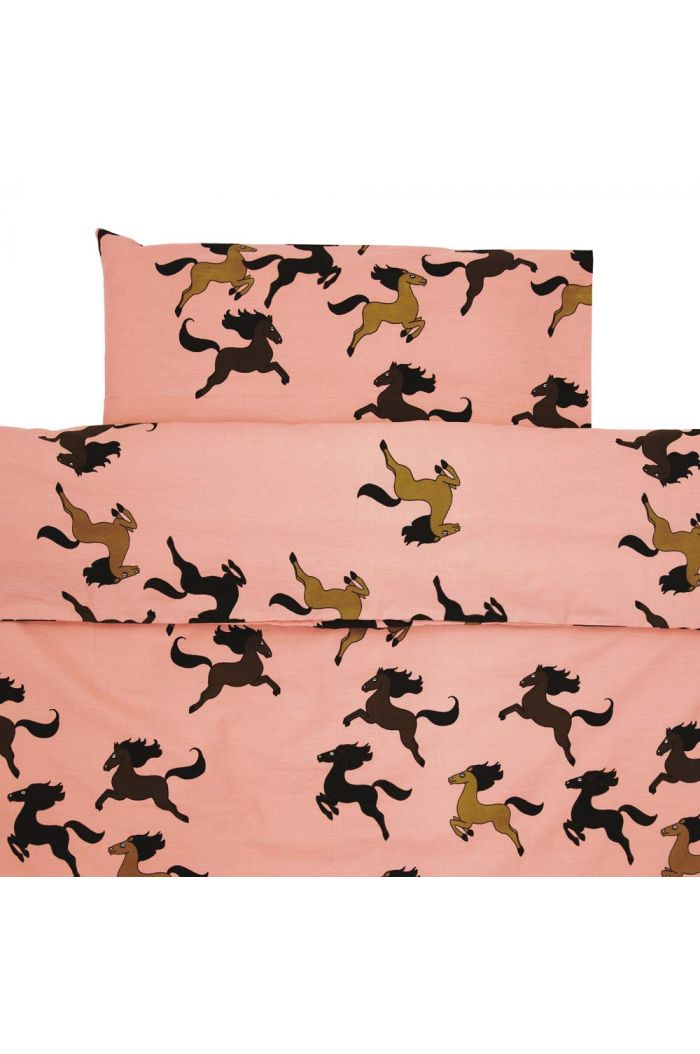 Mini Rodini Horse bed set baby Pink