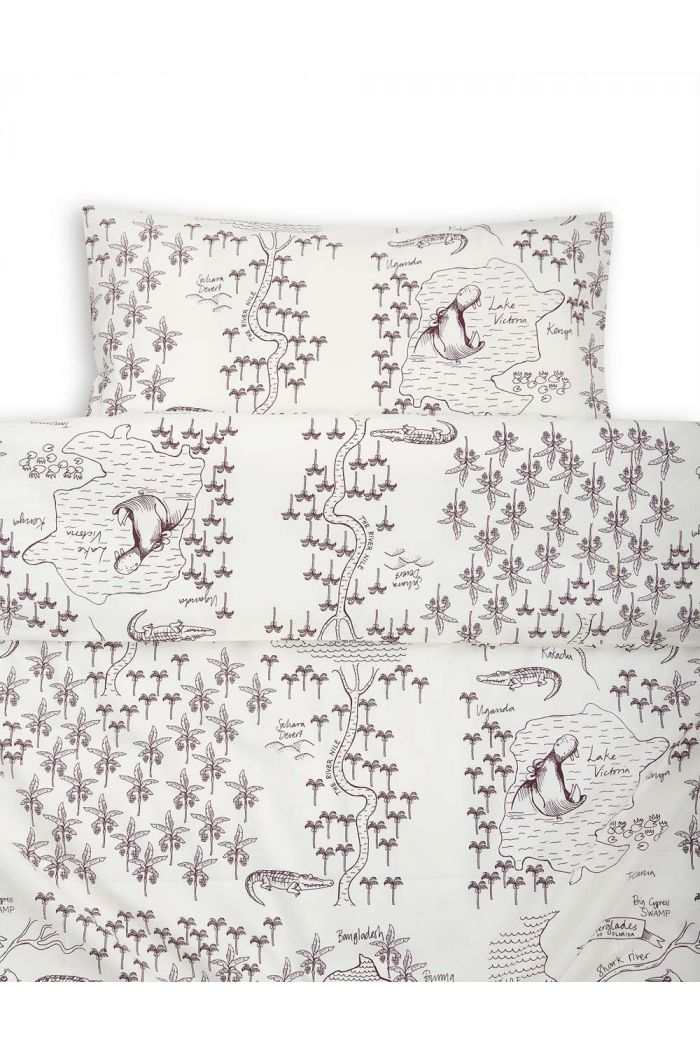 Mini Rodini Croco map bed set baby Offwhite