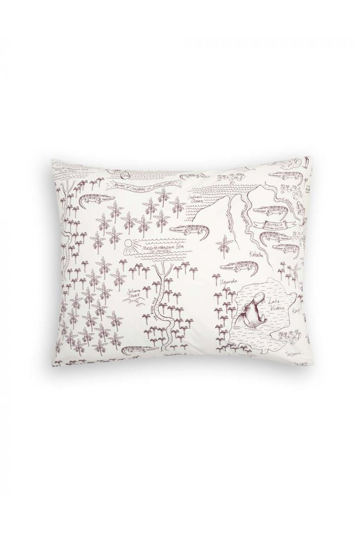 Mini Rodini Croco map pillowcase Offwhite