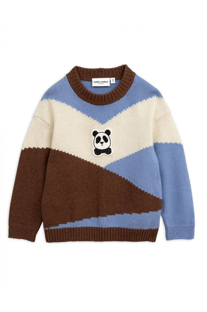 Mini Rodini Panda knitted wool pullover Brown