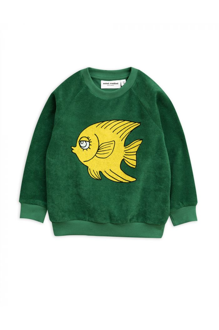Mini Rodini Fish terry sweatshirt Green
