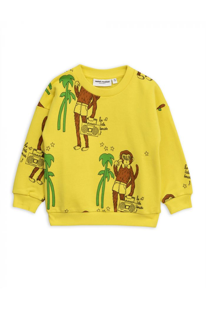 Mini Rodini Cool monkey all-over print sweatshirt Yellow
