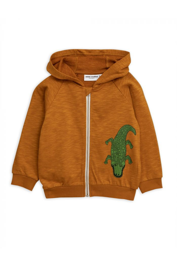 Mini Rodini Crocco single print zip hood Brown