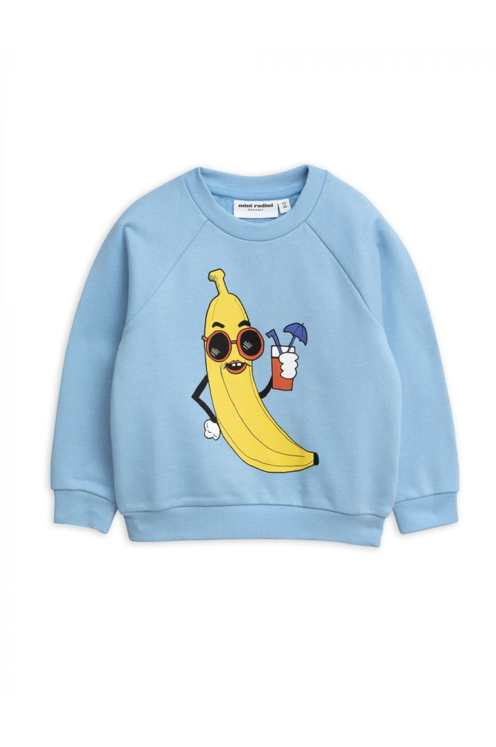 Mini Rodini Banana single print sweatshirt Light Blue