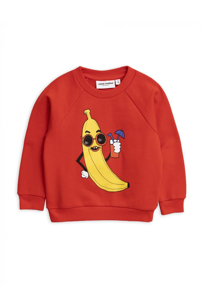 Mini Rodini Banana single print sweatshirt Red