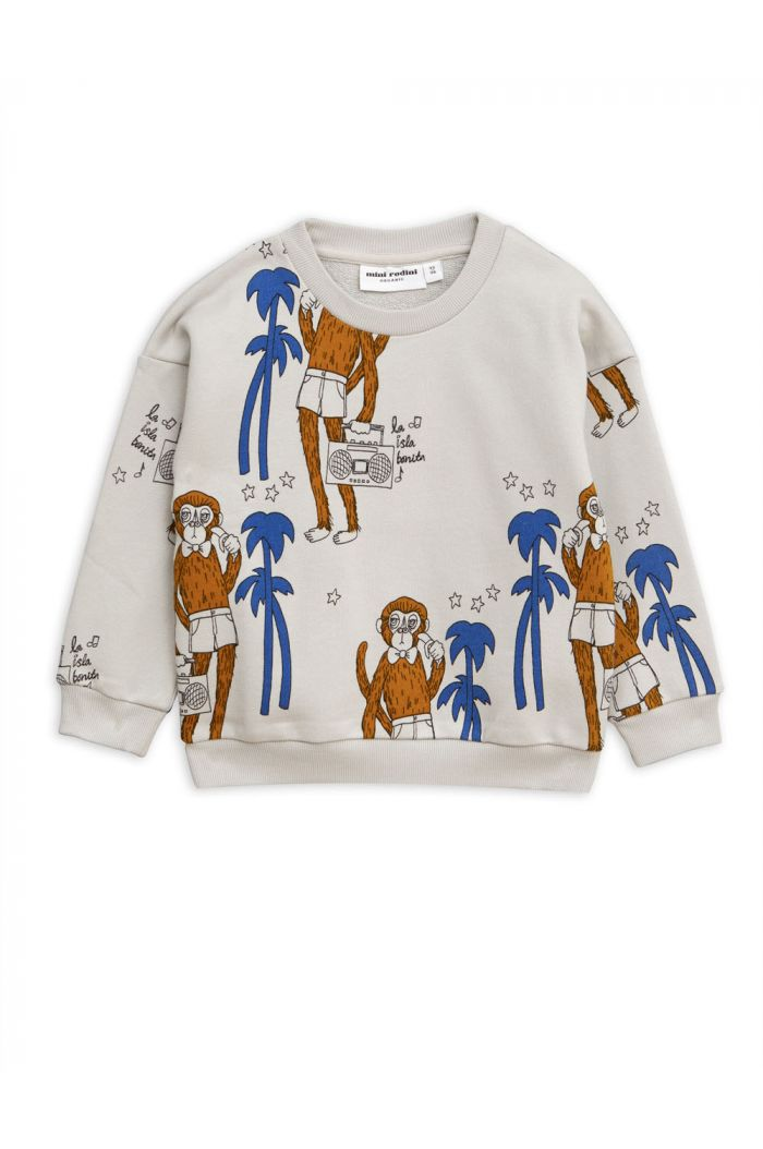 Mini Rodini Cool monkey all-over print sweatshirt Grey