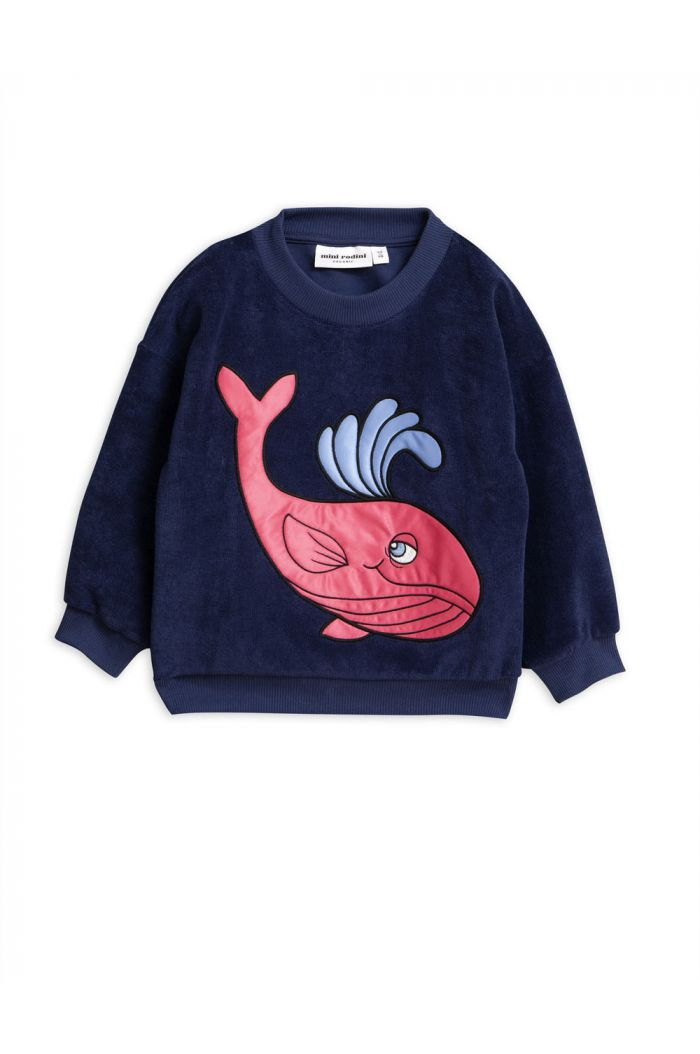 Mini Rodini Whale single print terry sweatshirt Navy