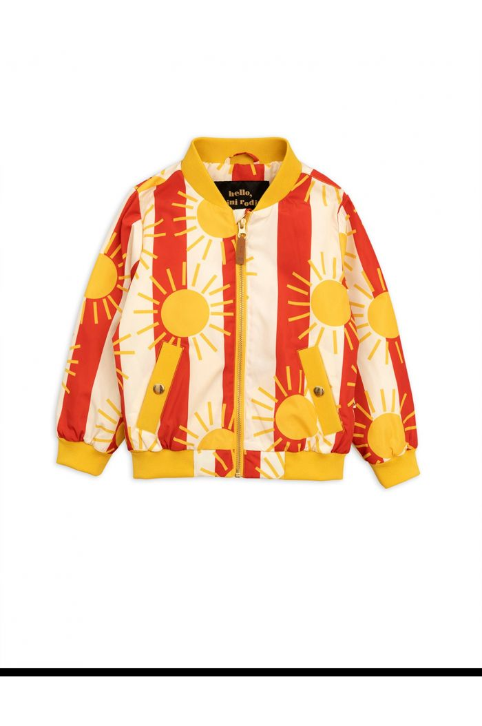Mini Rodini Sun stripe baseball jacket Red