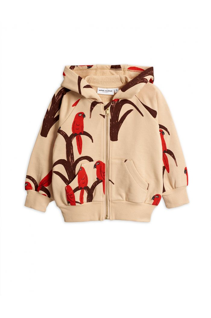 Mini Rodini Parrot all over print zip hood Red